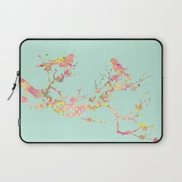 Love Birds on Branch Vintage Floral Shabby Chic Pink Yellow Mint Laptop Sleeve