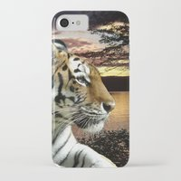 novelty iPhone & iPod Cases featuring Sunset Tiger by Moody Muse