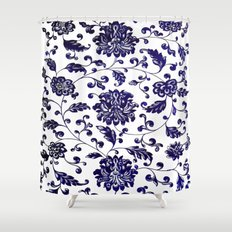 Chinese Floral Pattern Shower Curtain