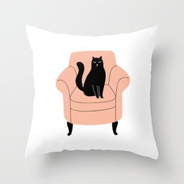 black cat on a chair Throw Pillow