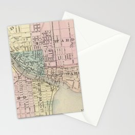 Vintage Map of Oshkosh WI (1878) Stationery Cards