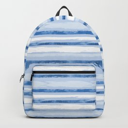 Watercolor Silent Sea Blue Stripes Backpack