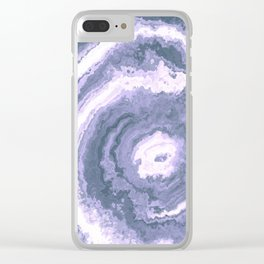 Gray Blue agate mineral gem stone Clear iPhone Case