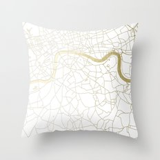 London White on Gold Street Map Throw Pillow