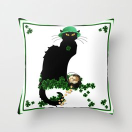 Le Chat Noir - St Patrick's Day Throw Pillow