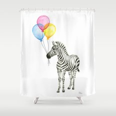 Zebra with Balloons Watercolor Baby Animals Shower Curtain