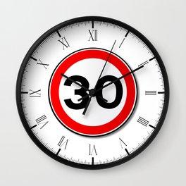 30 MPH Limit Traffic Sign Wall Clock