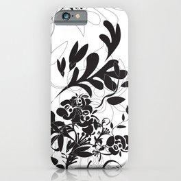 Black floral foliage iPhone Case