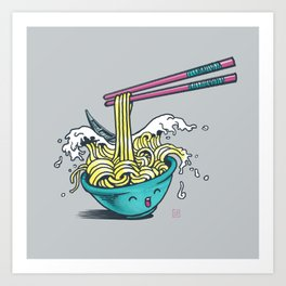 The Great Wave of Noodles with chopstick Art Print