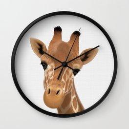 Safari nursery art, Giraffe print, Safari animals wall art, Baby giraffe Wall Clock