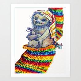 Sloth in a Sock Art Print