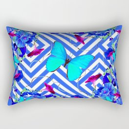Geometric  Blue Butterflies &  Purple Morning Glories Rectangular Pillow