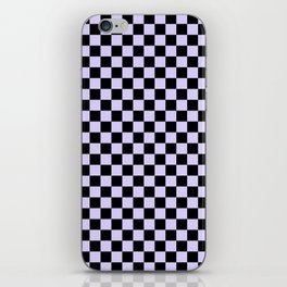 Black and Pale Lavender Violet Checkerboard iPhone Skin