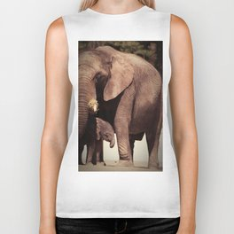 Elephants, mother and child Biker Tank