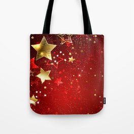 Gold Star on a Red Background Tote Bag