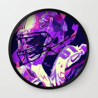 nfl Wall Clocks featuring CALVIN JOHNSON // NFL  GRIDIRON ILLUSTRATIONS by mergedvisible