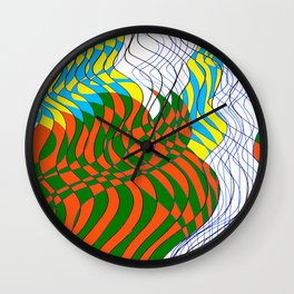 Waves Lines Black and Blue Lines - Colored Wall Clock