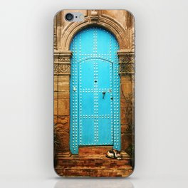 Delightful turquoise moroccan door iPhone Skin