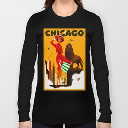 Vintage Chicago Illinois Travel Long Sleeve T-shirt