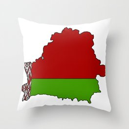 Belarus Map with Belarusian Flag Throw Pillow