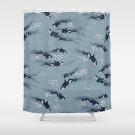 Orca in Motion / blue-gray ocean pattern Shower Curtain