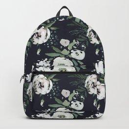 Blush pink white green black watercolor modern floral Backpack