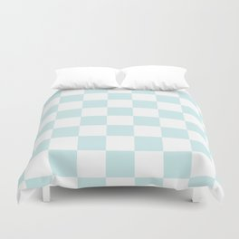 Checkered - White and Light Cyan Duvet Cover