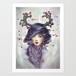 Woman with Antlers Art Print
