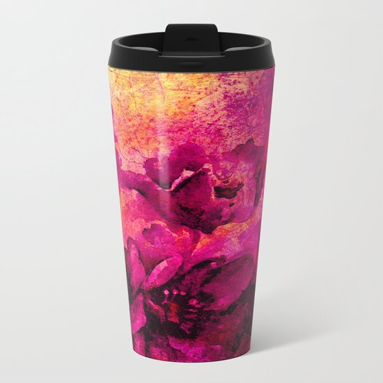 floral in deep pink and yellow Metal Travel Mug
