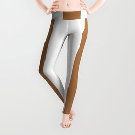 Metallic bronze - solid color - white vertical lines pattern Leggings