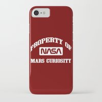 nasa iPhone & iPod Cases featuring Property of NASA Mars Curiosity Rover Athletic Wear White ink by RockatemanDesigns