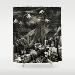 Modern Freedom Black and White Shower Curtain