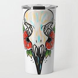 Crow Skull and Flowers Travel Mug