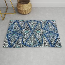 Antique Persian Tile Pattern, Cobalt Blue and White Rug