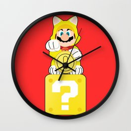 Lucky Cat Mario Wall Clock