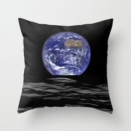 Earth Rising over the Horizon of the Moon Throw Pillow