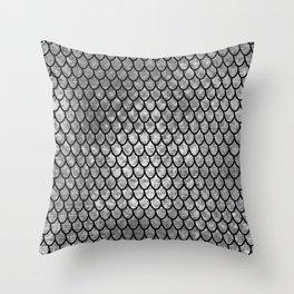 Mermaid Scales - Silver Throw Pillow