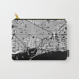Barcelona city map black and white Carry-All Pouch