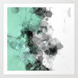 Mint Green Paint Splatter Abstract Art Print