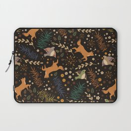 Autumn Woodsy Floral Forest Pattern With Foxes And Birds Laptop Sleeve