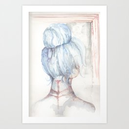 Blue Haired Longing Art Print