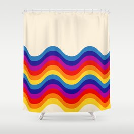 Wavy retro rainbow Shower Curtain