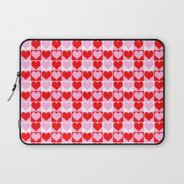 Love Heart Red Pink and White Check Pattern Laptop Sleeve