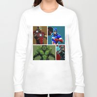 avenger Long Sleeve T-shirts featuring Avenger Team by Carrillo Art Studio
