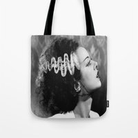 bride Tote Bags featuring BRIDE by Kathead Tarot/David Rivera