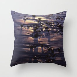 Beach Pebbles on the Sand at Sunset Throw Pillow