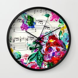 Musical Beauty - Floral Abstract - Piano Notes Wall Clock