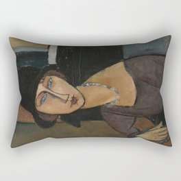 Modigliani - Jeanne Hebuterne With Hat And Necklace Rectangular Pillow