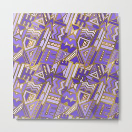 Gold and Rose Quartz Tribal Pattern on Purple Metal Print