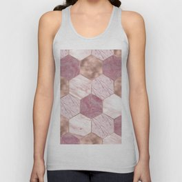 Pink marble honeycomb with rose gold accents Unisex Tank Top